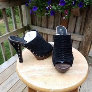 Guess Black Suede Leather 6.5 Open Toe Mules Studs